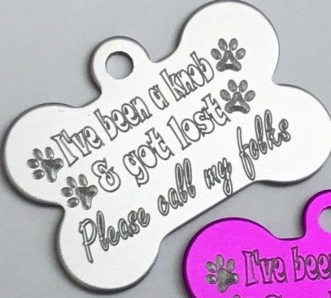 FUNNY DOG TAG PERSONALISED ENGRAVED 32MM OR 38MM COLOURED BONE DOG ID TAG